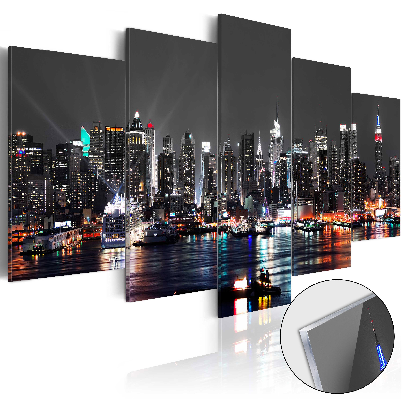 Acrylglasbild modern wandbild glasbilder bild new york stadt nacht d a 0022 k n ebay - Wandbild new york ...