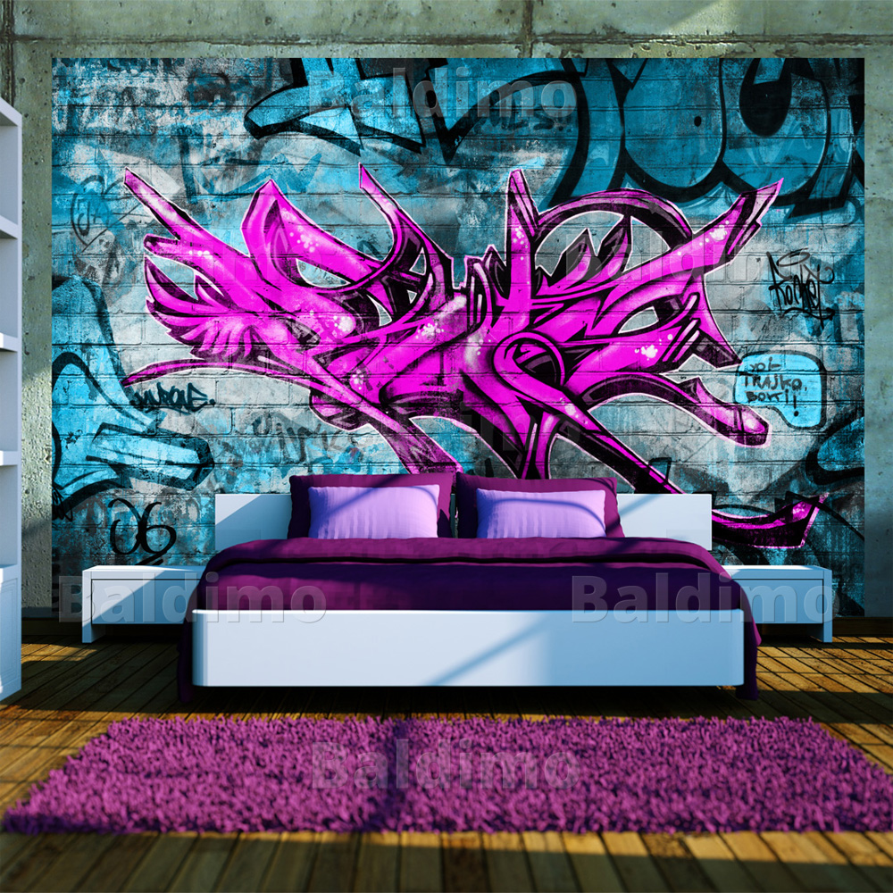 fototapete vlies 3 farben zur auswahl tapeten graffiti. Black Bedroom Furniture Sets. Home Design Ideas