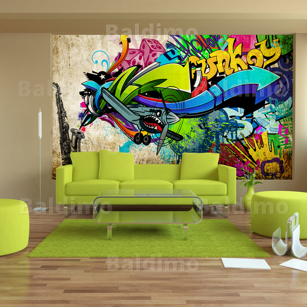 vlies fototapete 3 farben zur auswahl tapeten graffiti 10110905 9 ebay. Black Bedroom Furniture Sets. Home Design Ideas