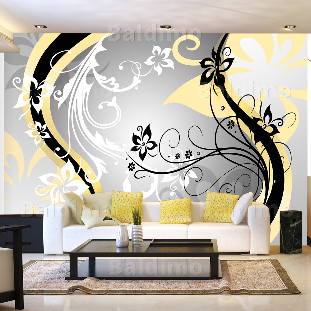 vlies leinwand fototapete xxl wand bilder tapeten blumen ornament 10110906 10 ebay. Black Bedroom Furniture Sets. Home Design Ideas