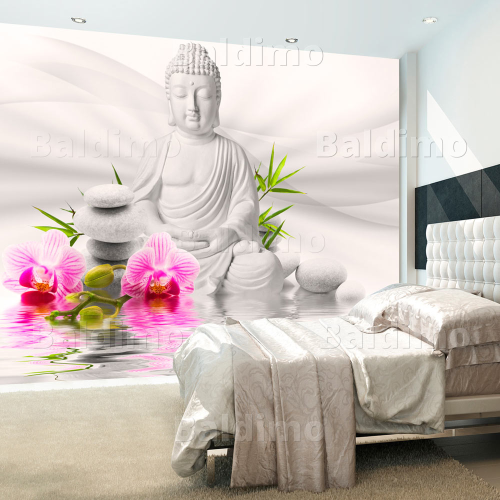 vlies fototapete 3 farben zur auswahl tapeten buddha blumen b a 0011 a b ebay. Black Bedroom Furniture Sets. Home Design Ideas