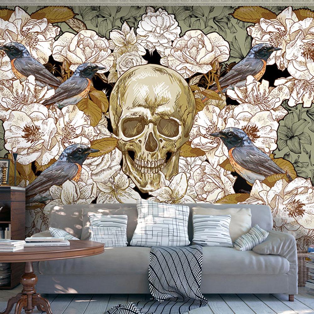 vlies fototapete 3 farben zur auswahl tapeten totenkopf blumen b a 0169 a b ebay. Black Bedroom Furniture Sets. Home Design Ideas