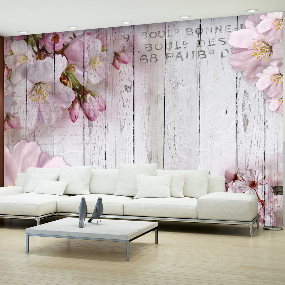 Fototapete holz optik bretter vlies tapete blumen wandbild for Tapeten rosa