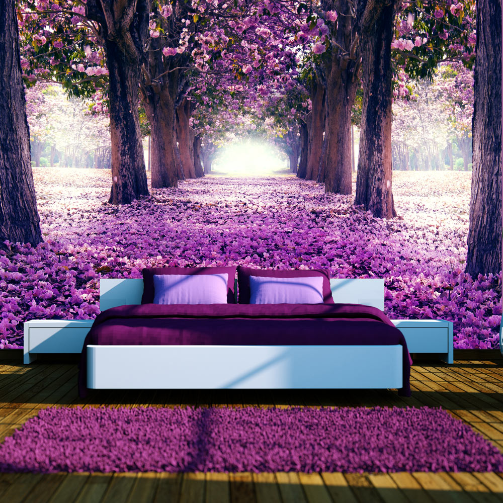 fototapete blumen weg allee ausblick vlies tapete xxl. Black Bedroom Furniture Sets. Home Design Ideas