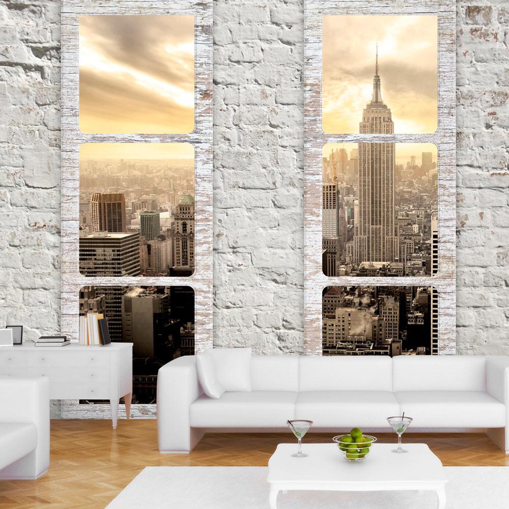 fototapete new york city fensterblick stadt vlies tapete. Black Bedroom Furniture Sets. Home Design Ideas