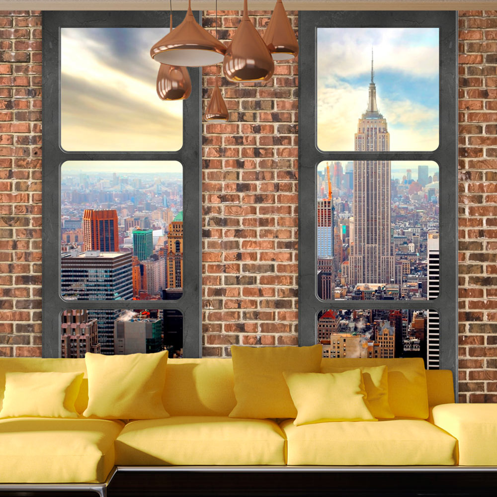 fototapete new york city fensterblick stadt vlies tapete. Black Bedroom Furniture Sets. Home Design Ideas