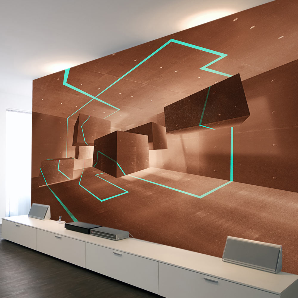 vlies fototapete 3 farben zur auswahl tapeten beton 3d block f a 0266 a b ebay. Black Bedroom Furniture Sets. Home Design Ideas