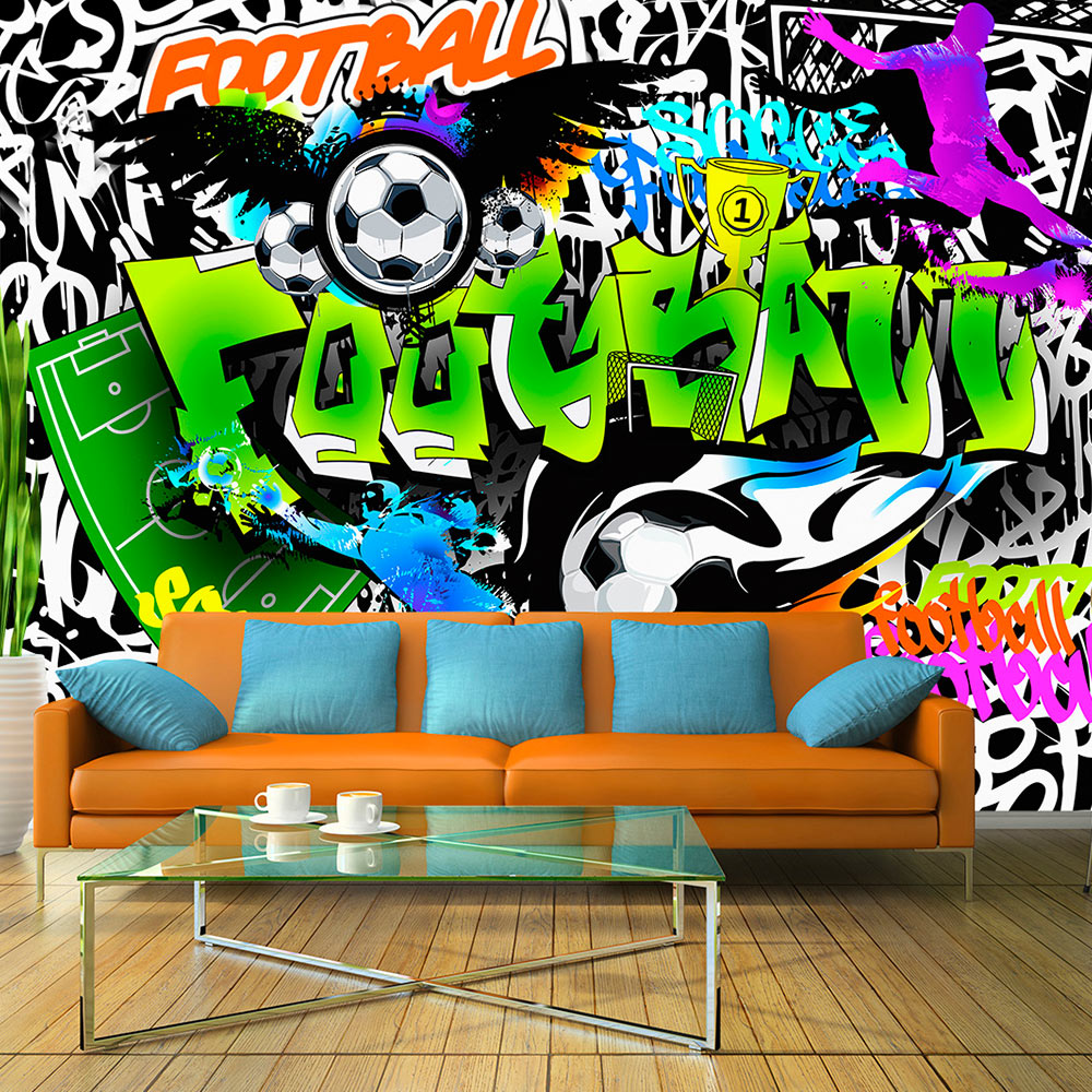fototapete graffiti vlies tapete fu ball sport wandbilder 3 farben i a 0111 a b ebay. Black Bedroom Furniture Sets. Home Design Ideas