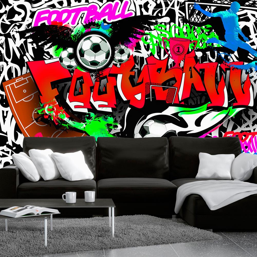 fototapete graffiti vlies tapete fu ball sport wandbilder. Black Bedroom Furniture Sets. Home Design Ideas
