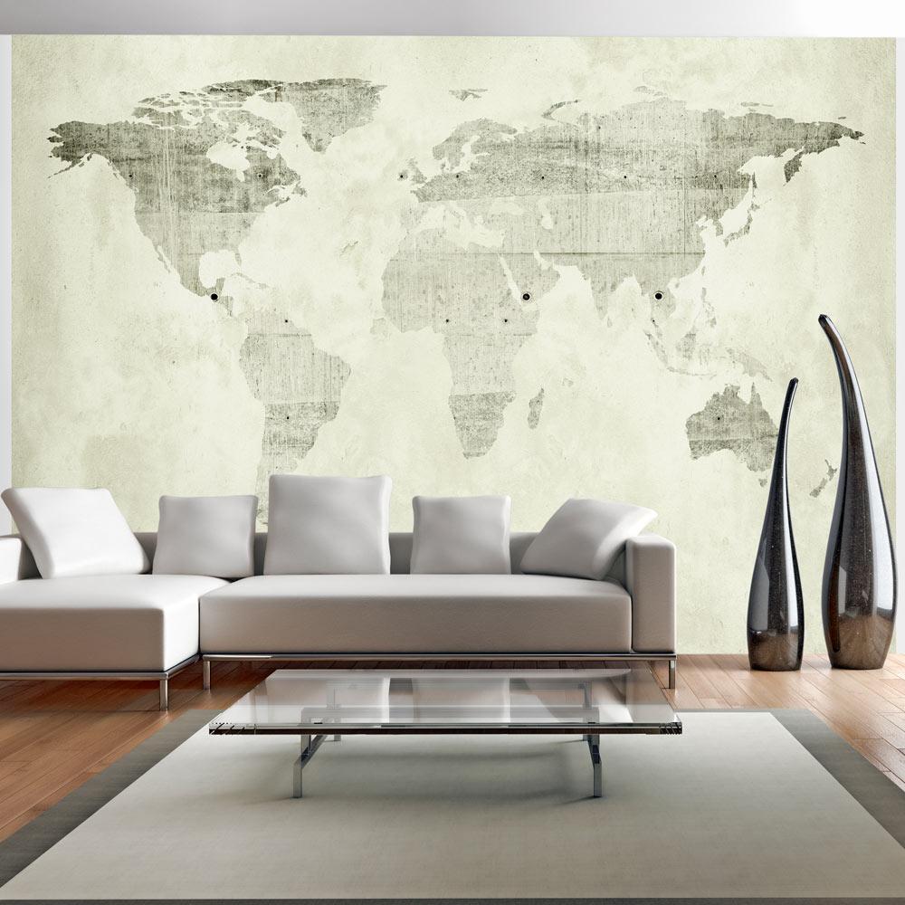 vlies fototapete 3 farben zur auswahl tapeten weltkarte beton k a 0015. Black Bedroom Furniture Sets. Home Design Ideas