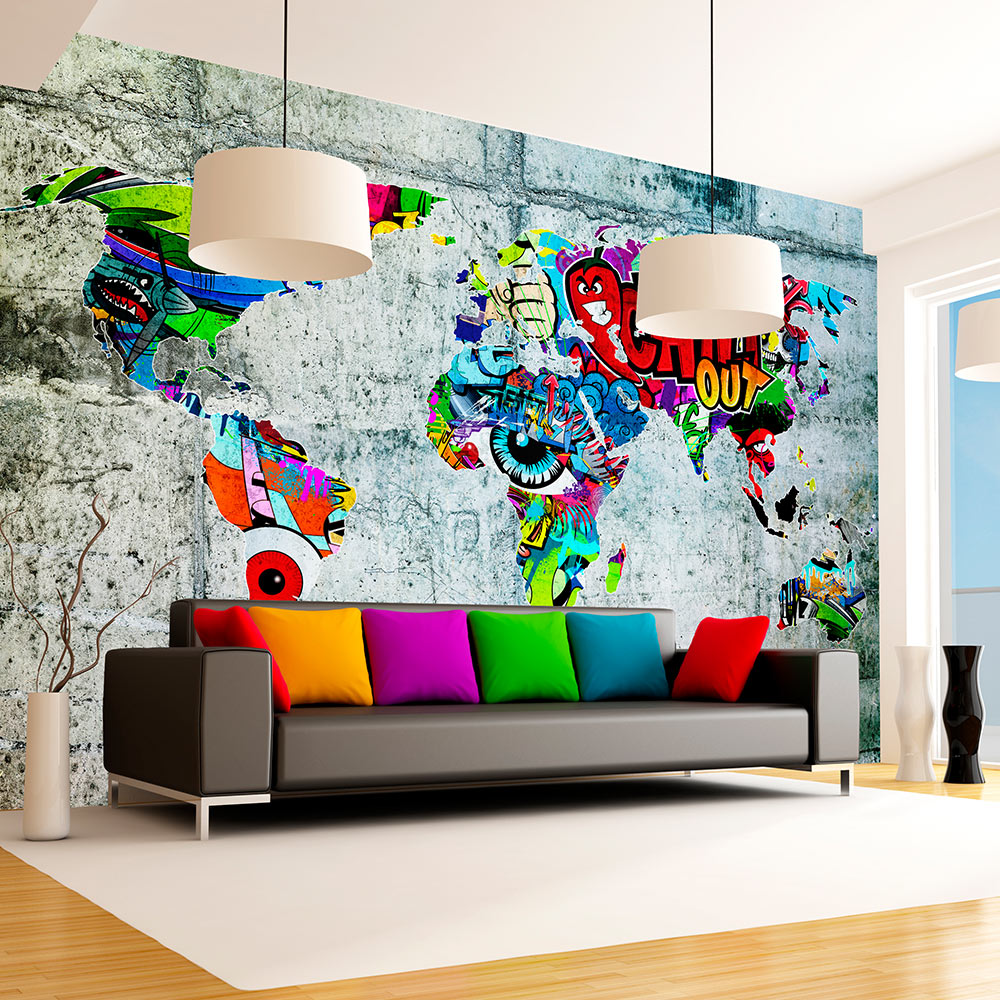 vlies fototapete 3 farben zur auswahl tapeten weltakrte graffiti k a 0030 a b ebay. Black Bedroom Furniture Sets. Home Design Ideas
