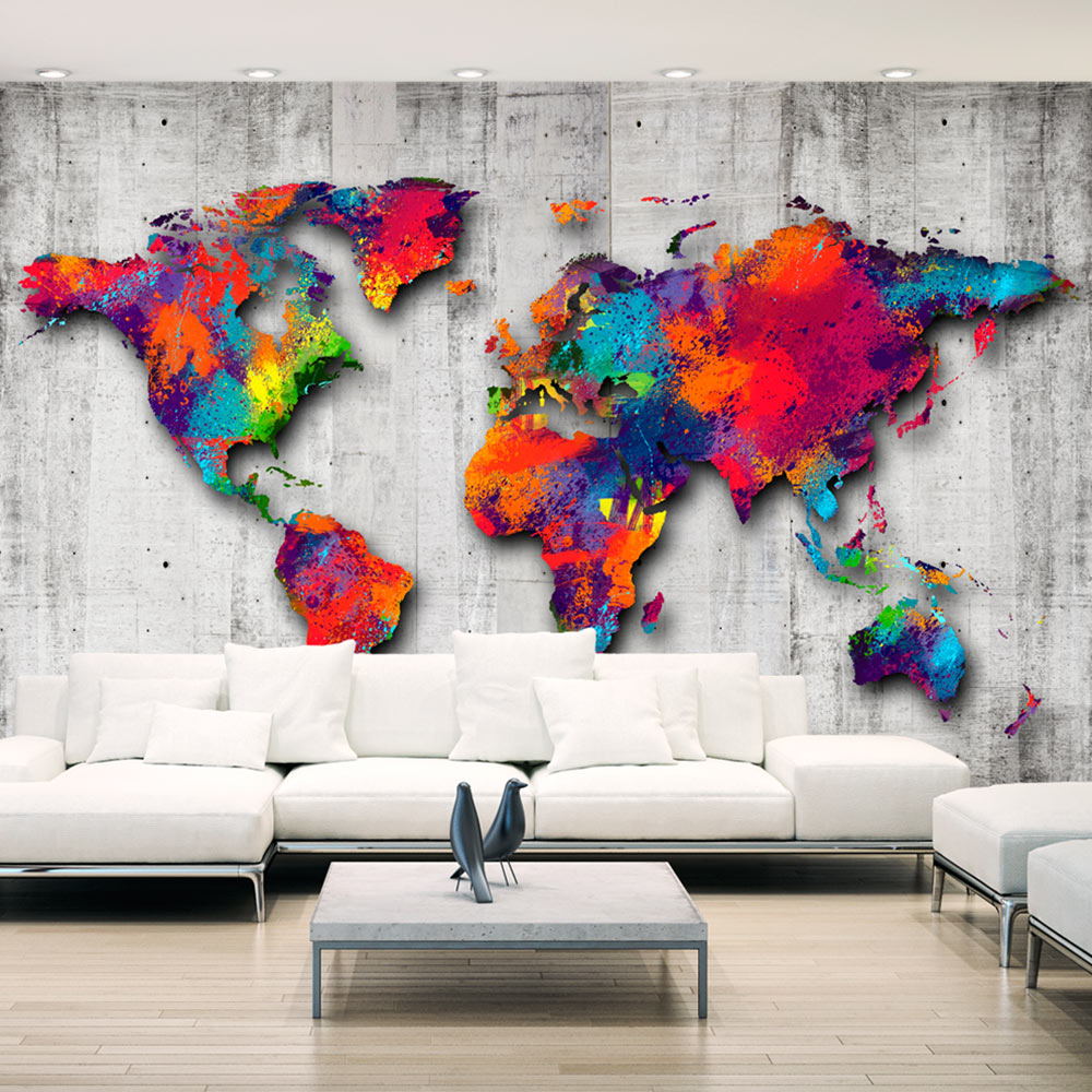 vlies fototapete 3 farben zur auswahl tapeten weltkarte beton k a 0033 a b ebay. Black Bedroom Furniture Sets. Home Design Ideas