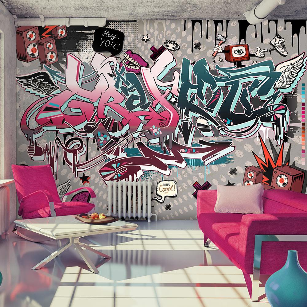 vlies fototapete 3 farben zur auswahl tapeten graffiti m a 0160 a b ebay. Black Bedroom Furniture Sets. Home Design Ideas