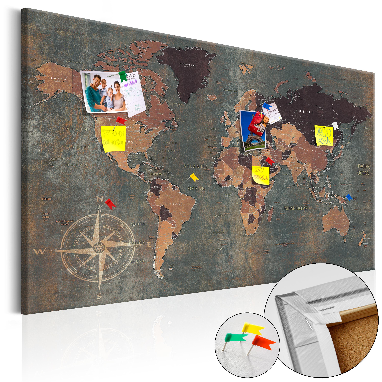 Weltkarte pinnwand kork landkarte korkwand korktafel 27 - Weltkarte basteln ...