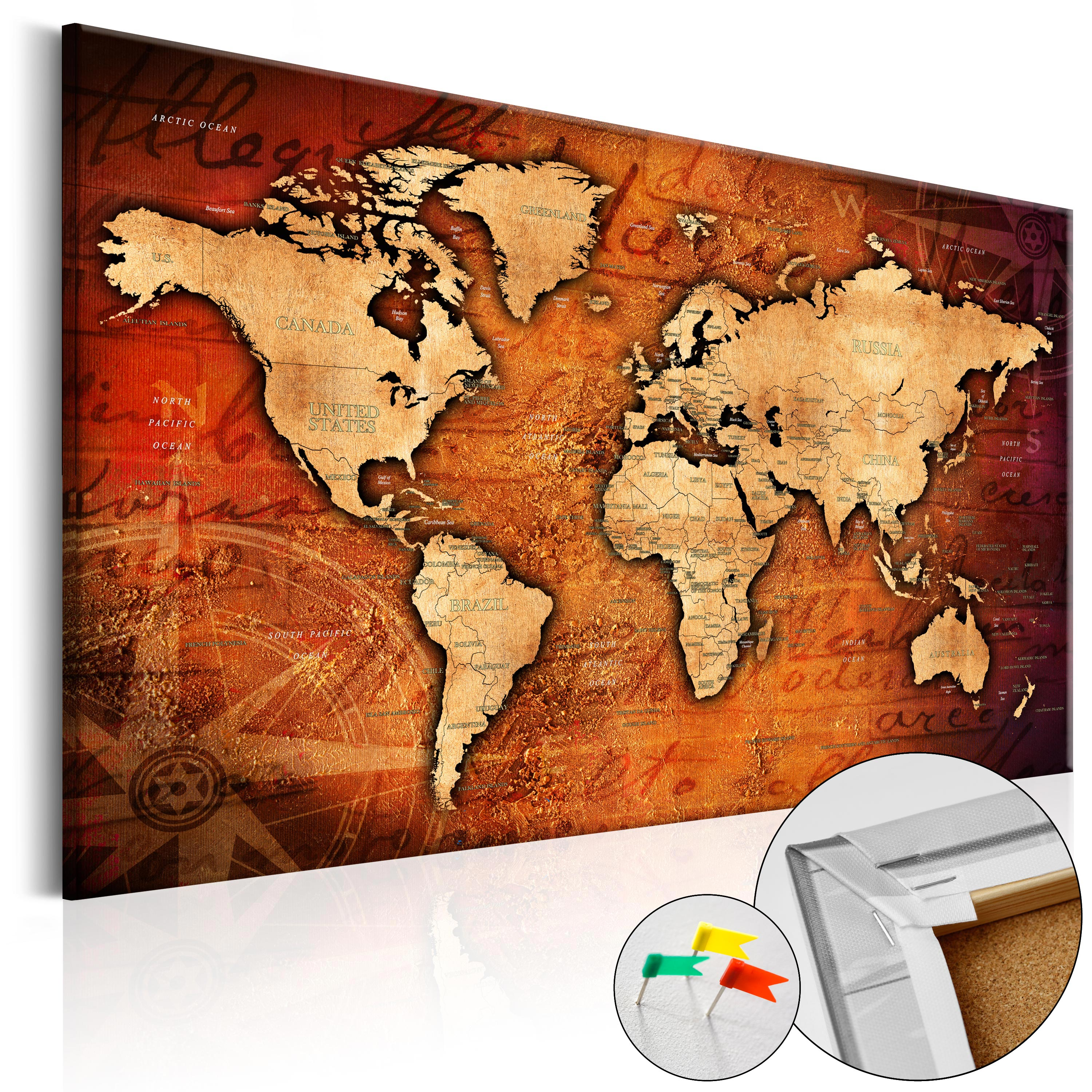 Pinboard image printed on canvas with cork backing pin board map pinboard image printed on canvas with cork backing gumiabroncs Image collections