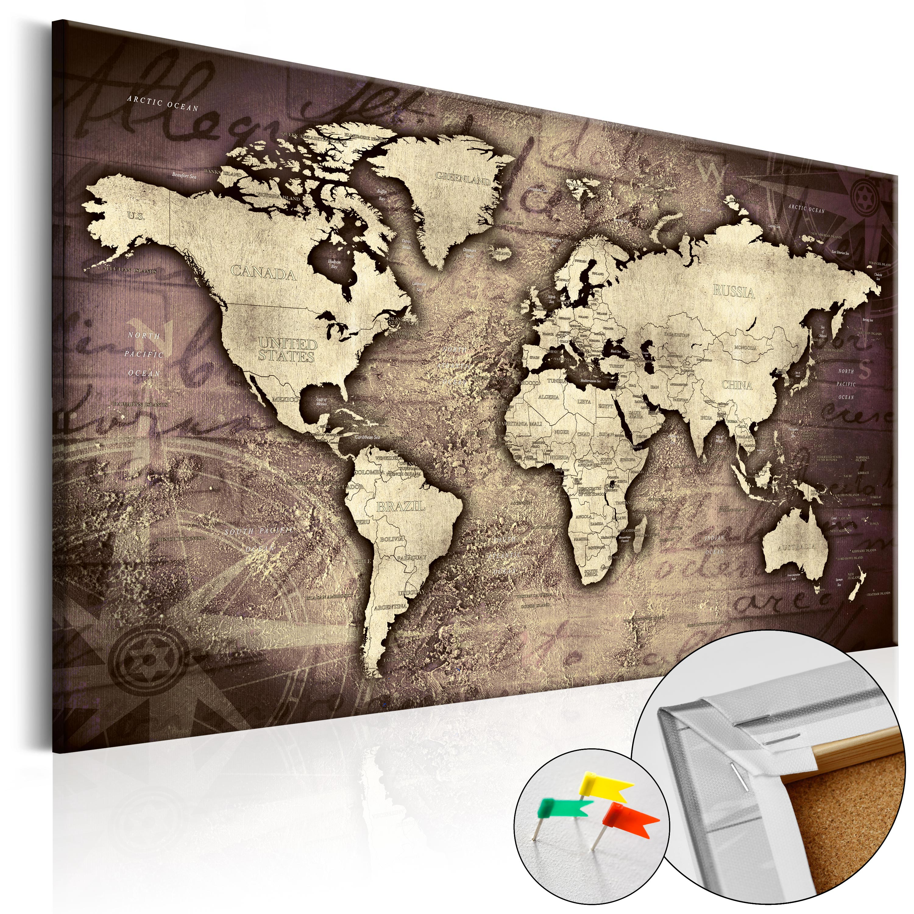 PINBOARD IMAGE PRINTED ON CANVAS WITH CORK BACKING PIN BOARD MAP - Us map pinboard