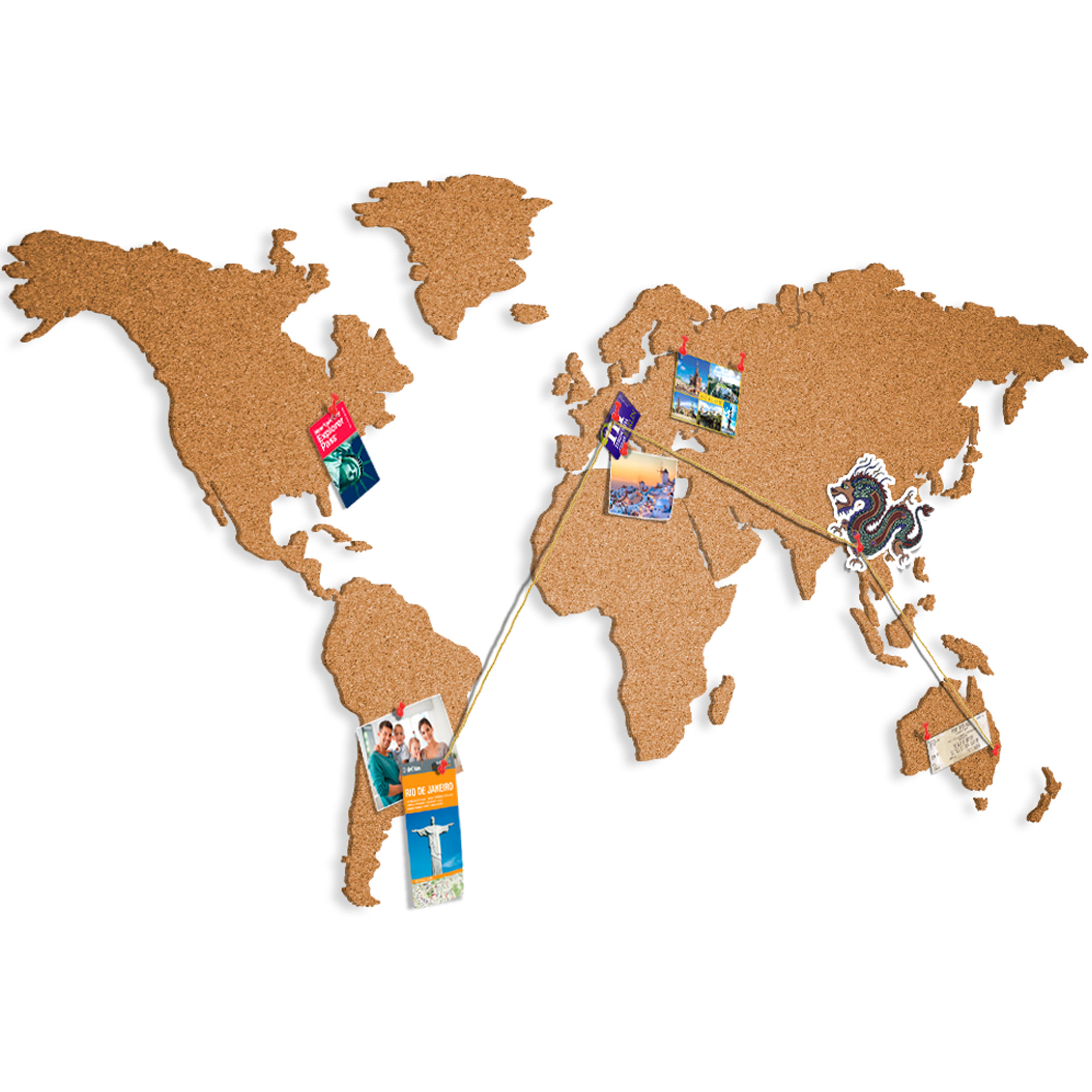WORLD MAP SELF ADHESIVE CORK BOARD SOMETHING NEW MULTISTICK