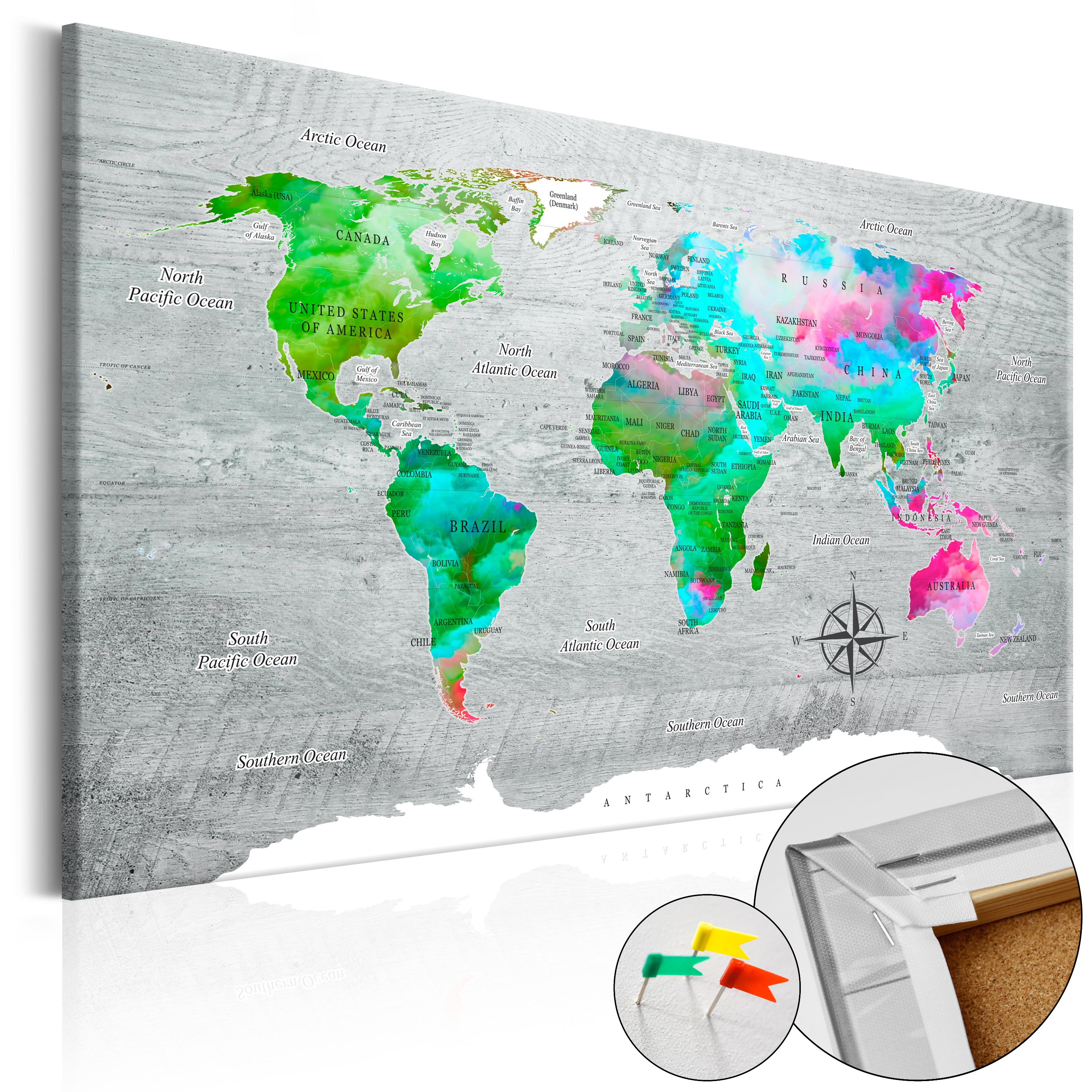 Pinboard image printed on canvas with cork backing pin board map pinboard image printed on canvas with cork backing gumiabroncs Choice Image