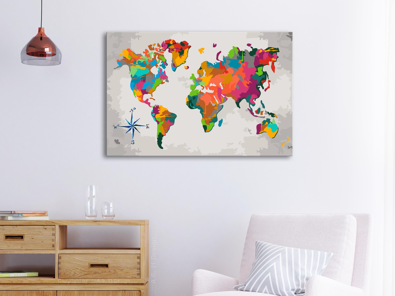 Malen nach Zahlen Erwachsene Wandbild Malset 60x40 Weltkarte n-A-0231-d-a