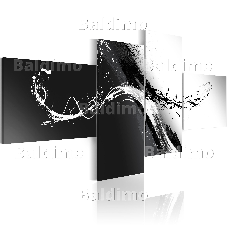 wandbilder xxl abstrakt schwarz wei leinwand bilder 4 teilig 020101 101 ebay. Black Bedroom Furniture Sets. Home Design Ideas