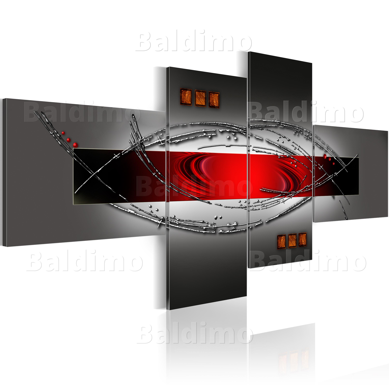 Wandbilder xxl abstrakt rot grau leinwand bilder 4 teilig for Wandbilder wohnzimmer abstrakt