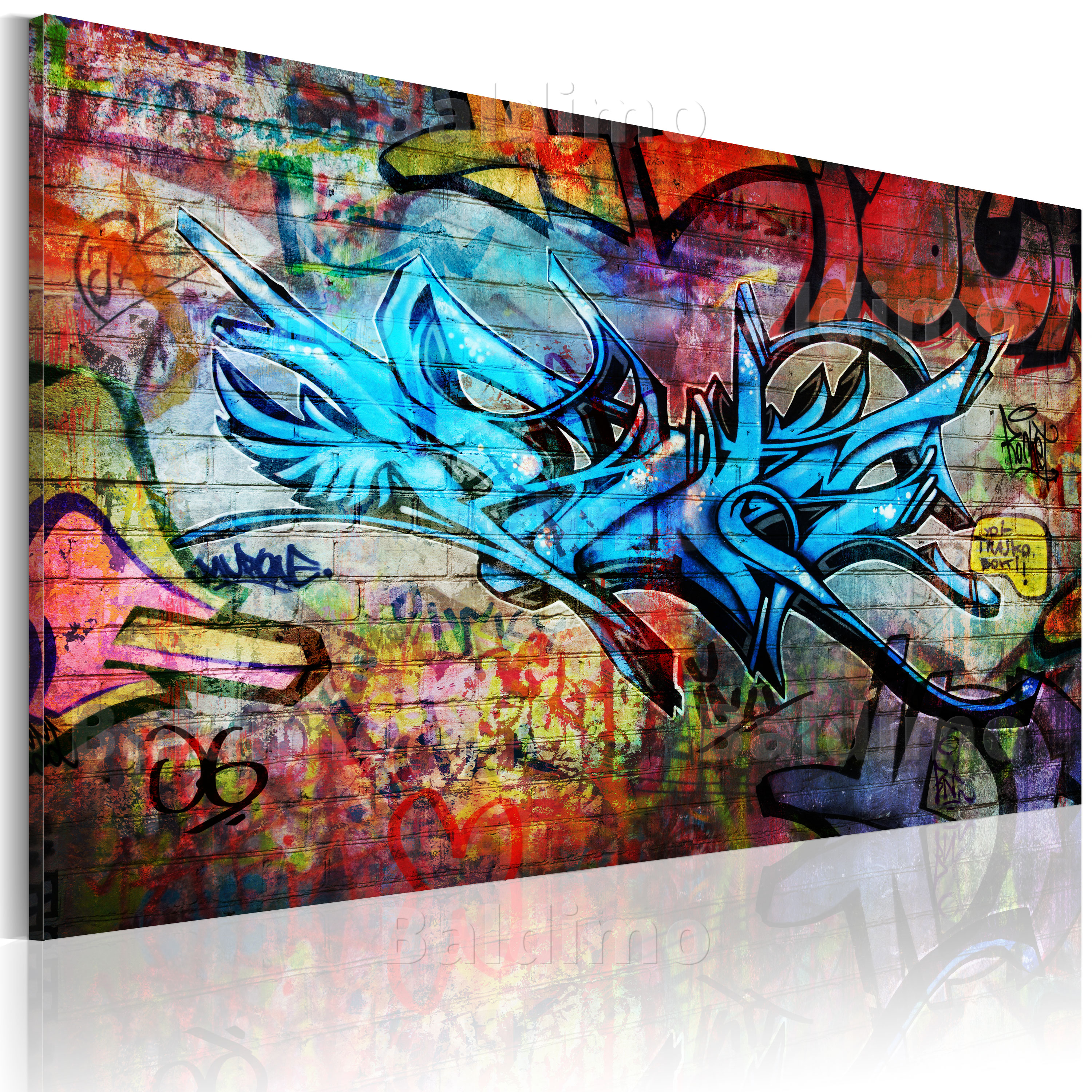 leinwand bilder xxl fertig aufgespannt bild graffiti 020105 11. Black Bedroom Furniture Sets. Home Design Ideas