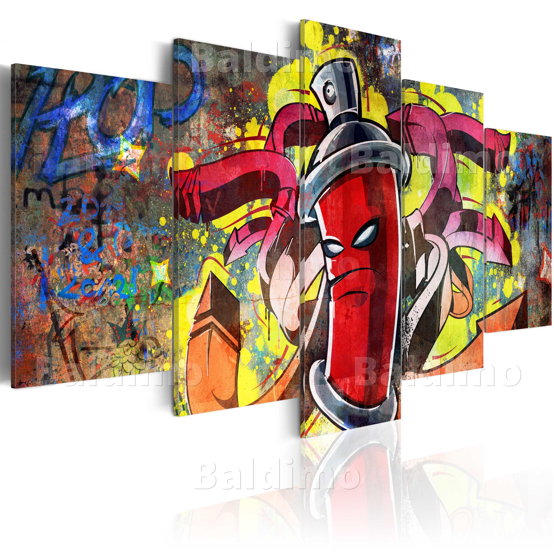 leinwand bilder xxl fertig aufgespannt bild graffiti mural 020105 13. Black Bedroom Furniture Sets. Home Design Ideas