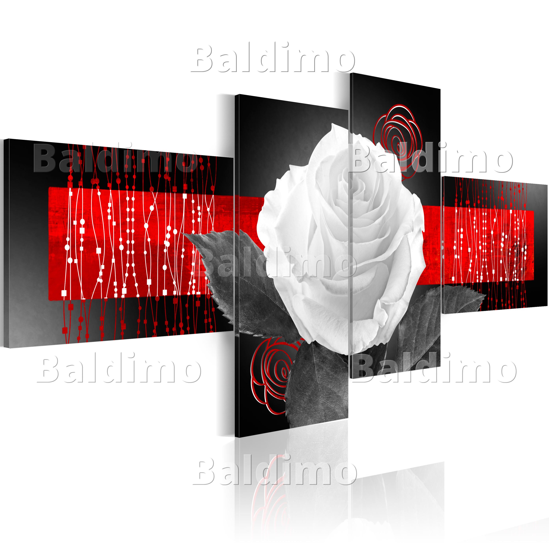wandbilder xxl blumen rose abstrakt leinwand bilder 4 teilig 020110 153 ebay. Black Bedroom Furniture Sets. Home Design Ideas