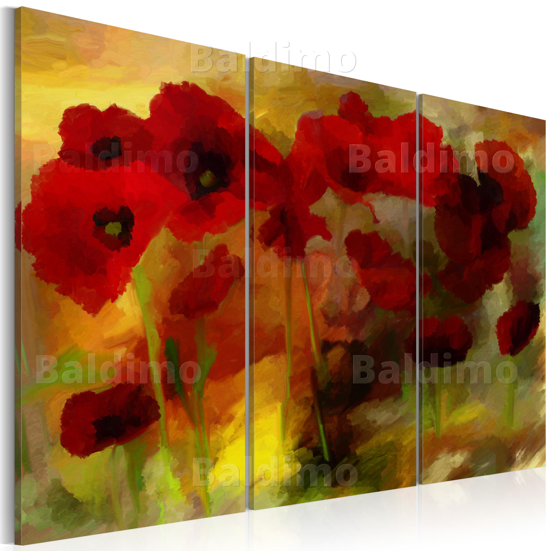 wandbilder xxl mohn blumen wie gemalt leinwand bilder druck wohnzimmer 020110 66 ebay. Black Bedroom Furniture Sets. Home Design Ideas