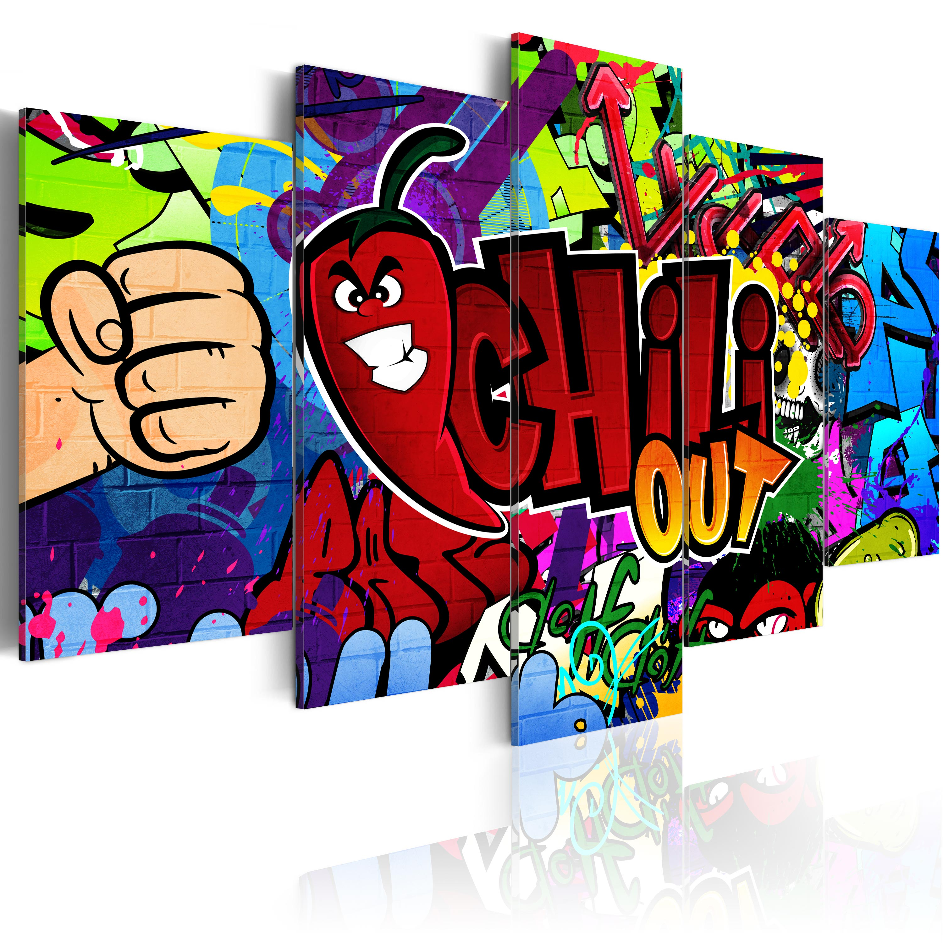 leinwand bilder xxl kunstdruck wandbild graffiti street art chili 020115 41 ebay. Black Bedroom Furniture Sets. Home Design Ideas