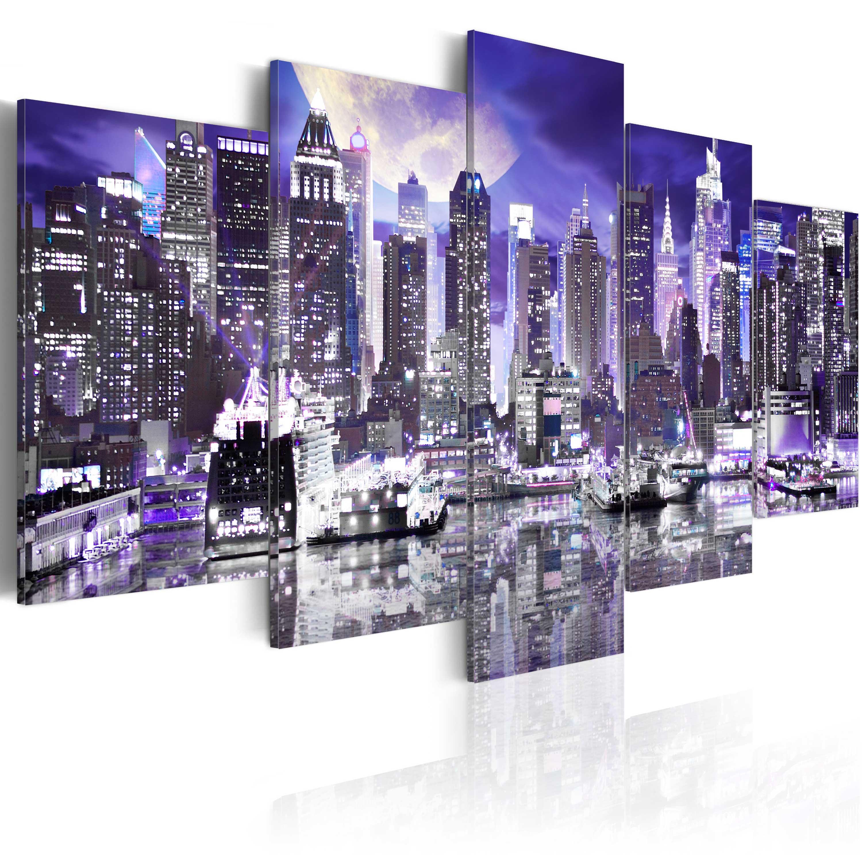 leinwand bilder xxl kunstdruck wandbild new york stadt mond nacht 030102 21 ebay. Black Bedroom Furniture Sets. Home Design Ideas