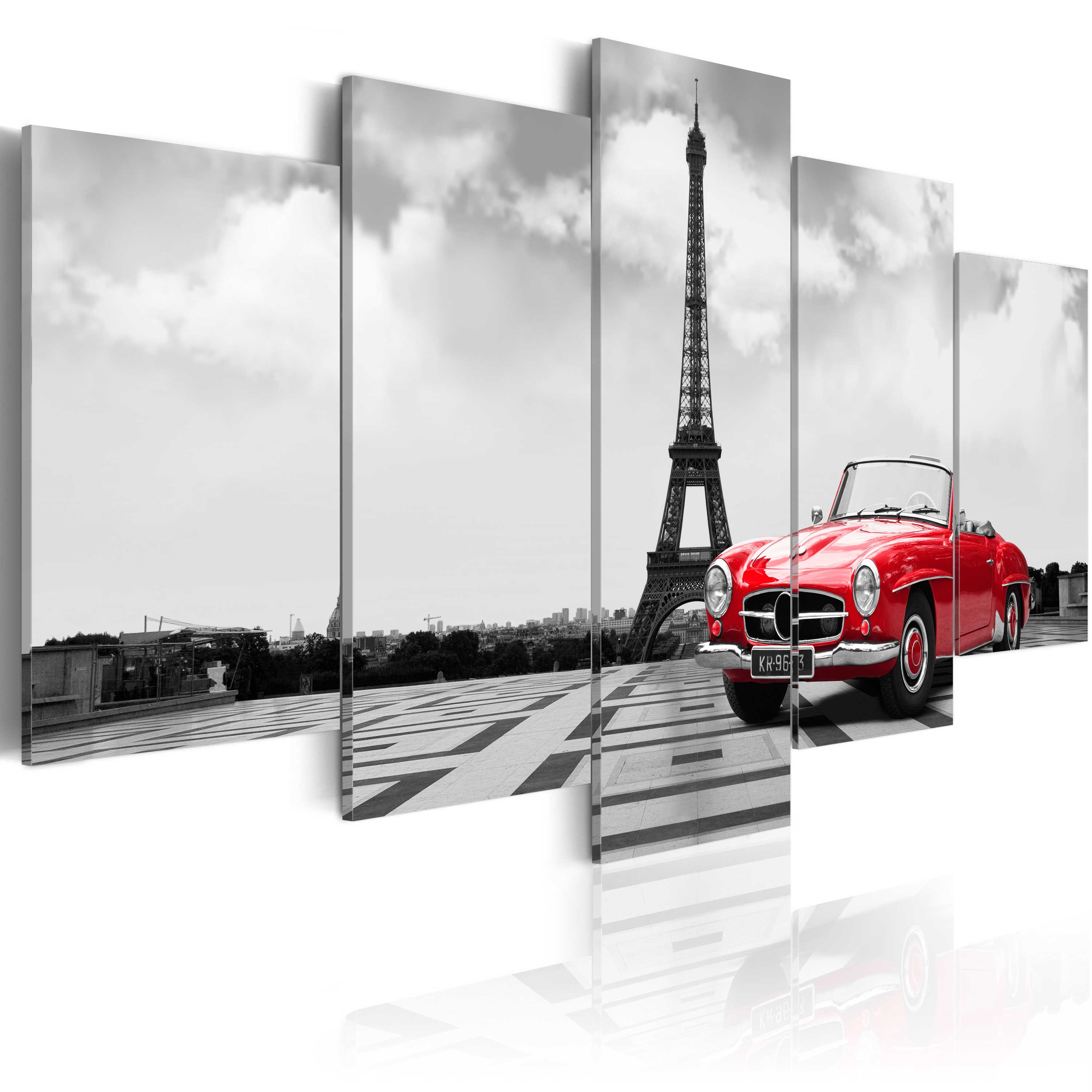 leinwand bilder xxl kunstdruck wandbild paris auto eifelturm grau rot 030106 11 ebay. Black Bedroom Furniture Sets. Home Design Ideas