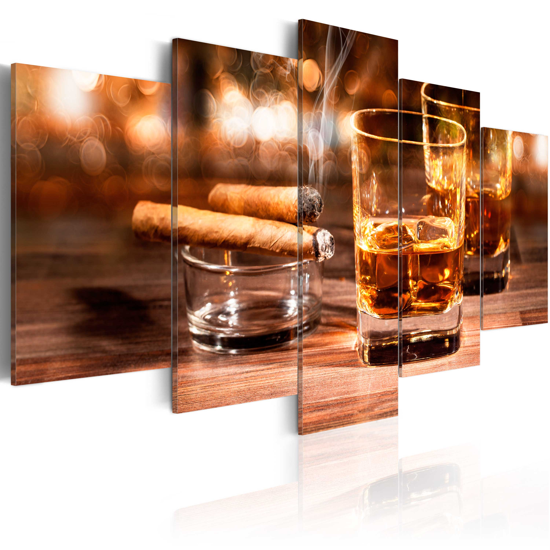 wandbilder xxl whisky zigarre leinwand bilder kunstdruck. Black Bedroom Furniture Sets. Home Design Ideas