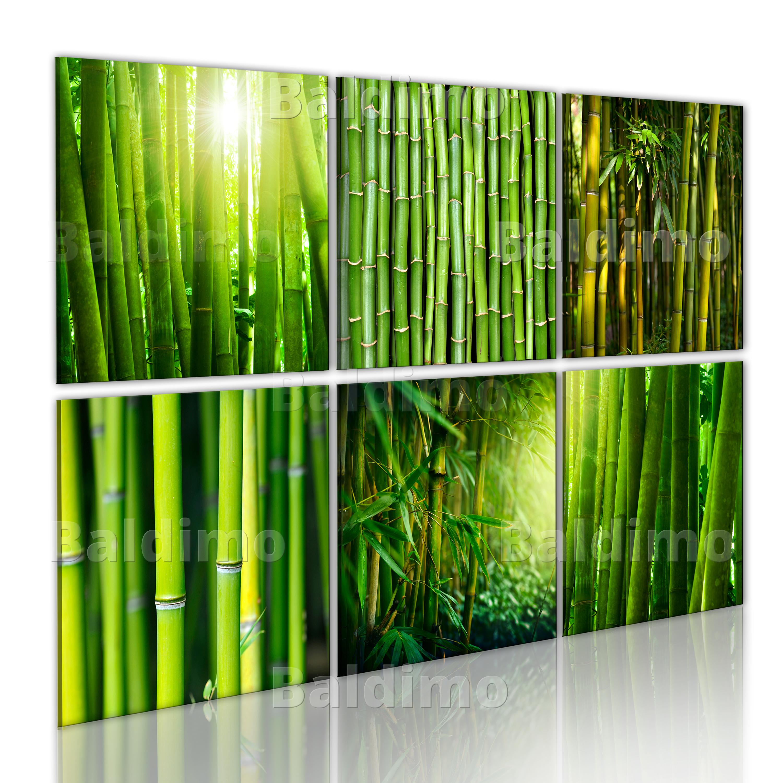 wandbilder xxl natur bambus leinwand bilder 6 teilig gr n wohnzimmer 030210 77 ebay. Black Bedroom Furniture Sets. Home Design Ideas