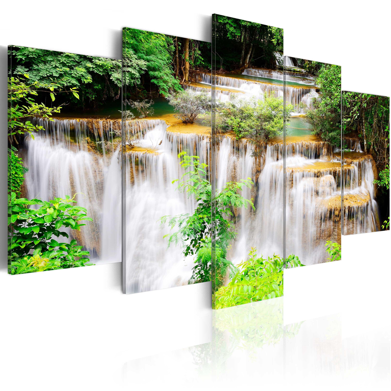 leinwand bilder xxl kunstdruck wandbild wasserfall natur wald c b 0043 b m ebay. Black Bedroom Furniture Sets. Home Design Ideas