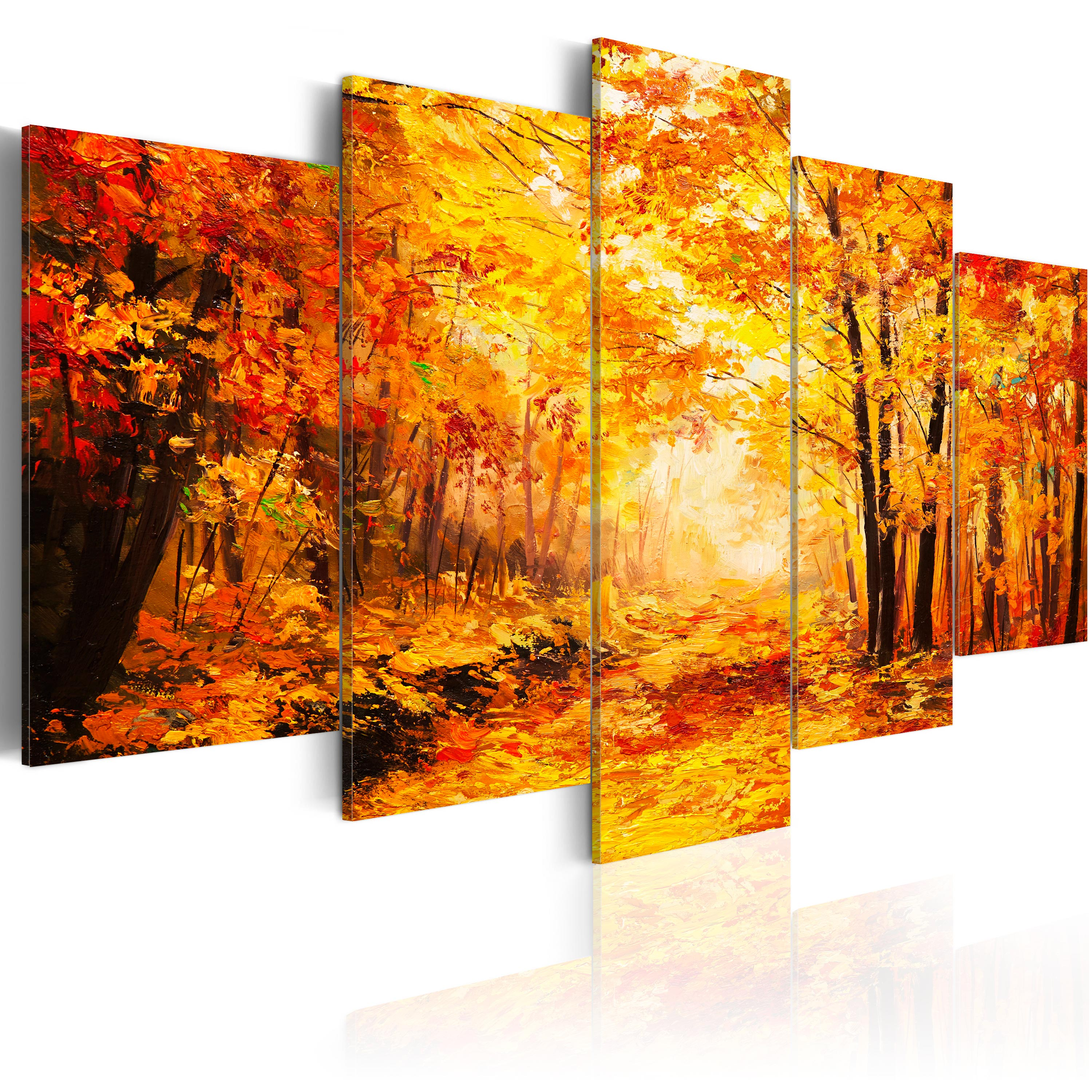 leinwand bilder xxl kunstdruck bild herbst wald natur wie gemalt c b 0093 b m ebay. Black Bedroom Furniture Sets. Home Design Ideas