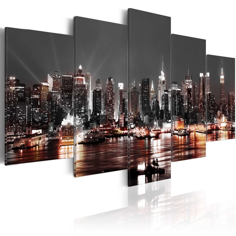 wandbilder new york leinwand bild xxl skyline kunstdruck nyc nacht d a 0022 b n. Black Bedroom Furniture Sets. Home Design Ideas