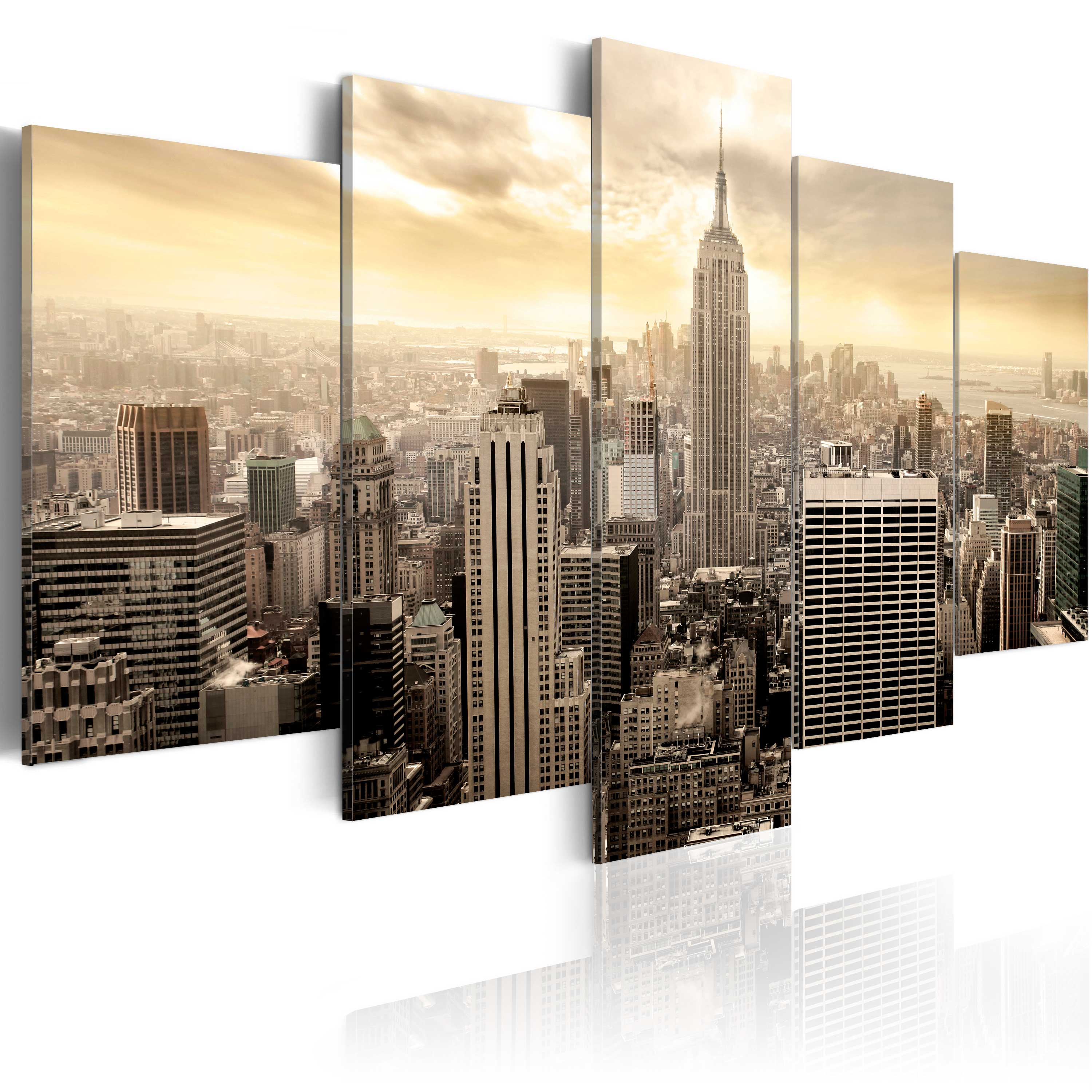 wandbilder xxl new york skyline leinwand bilder 5 teilig wohnzimmer d b 0006 b m ebay. Black Bedroom Furniture Sets. Home Design Ideas