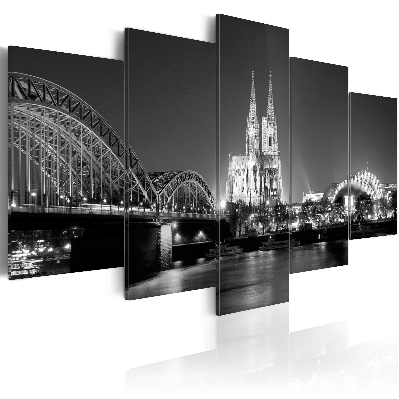 leinwand bilder xxl fertig aufgespannt bild k ln bei nacht d b 0014 b n ebay. Black Bedroom Furniture Sets. Home Design Ideas