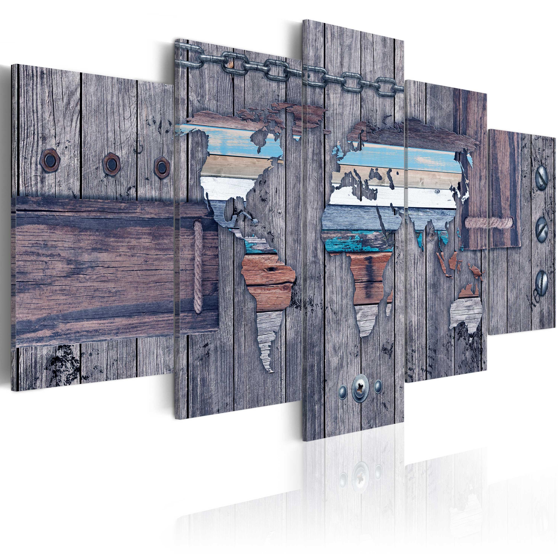 leinwand bilder xxl fertig aufgespannt bild weltkarte k a 0035 b n ebay. Black Bedroom Furniture Sets. Home Design Ideas