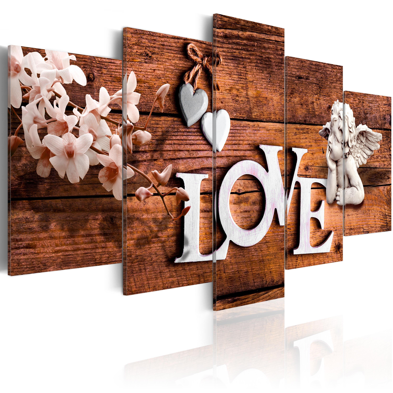 LEINWAND BILDER XXL ! FERTIG AUFGESPANNT ! BILD ! LOVE BLUME HOLZ m-C-0117-b-m