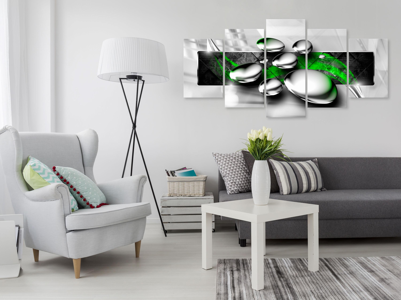 Wandbilder xxl Abstrakt grau rot grün Leinwand Bilder Wohnzimmer a-A-0354-b-n