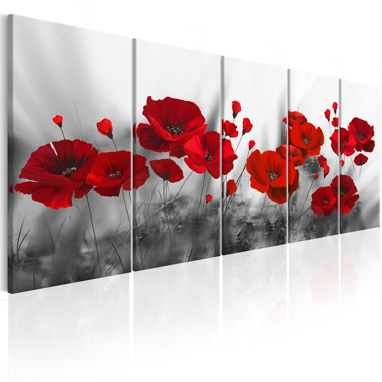 wandbilder xxl mohn blumen leinwand bild wiese rot grau. Black Bedroom Furniture Sets. Home Design Ideas