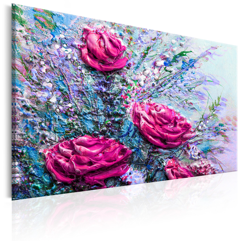 leinwand bilder xxl fertig aufgespannt bild blume wie gemalt b b 0119 b b ebay. Black Bedroom Furniture Sets. Home Design Ideas