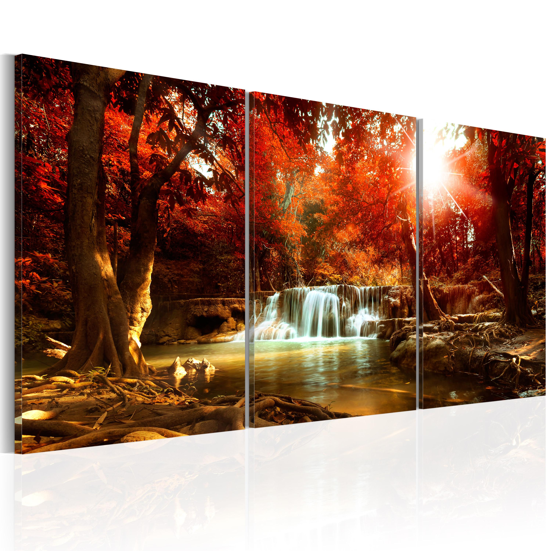 leinwand bilder xxl kunstdruck bild natur wasserfall herbst c c 0061 b e ebay. Black Bedroom Furniture Sets. Home Design Ideas