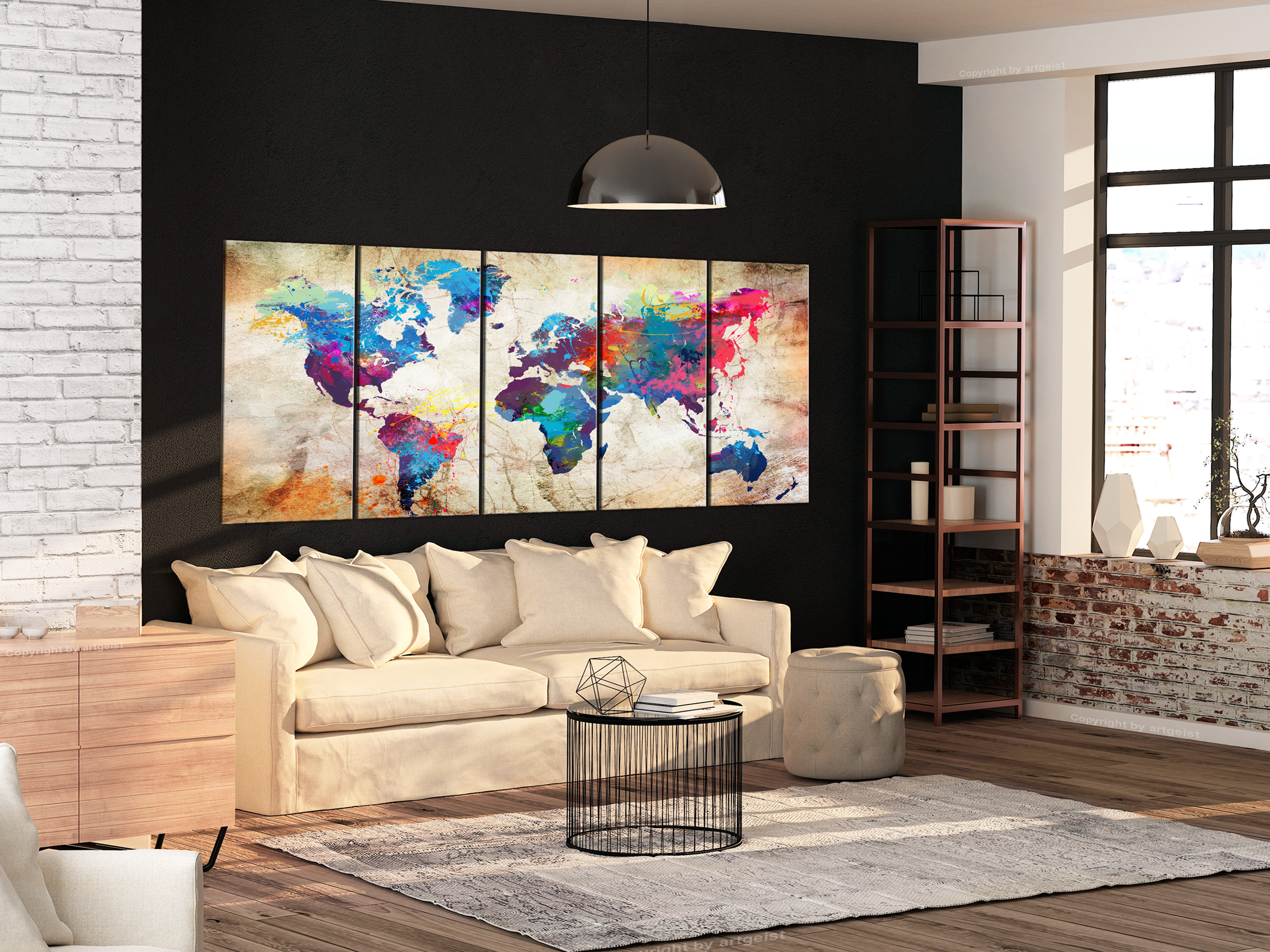 Wall pictures XXL World Map Map Canvas Pictures XXL 5 pieces k-a-0179-b-n