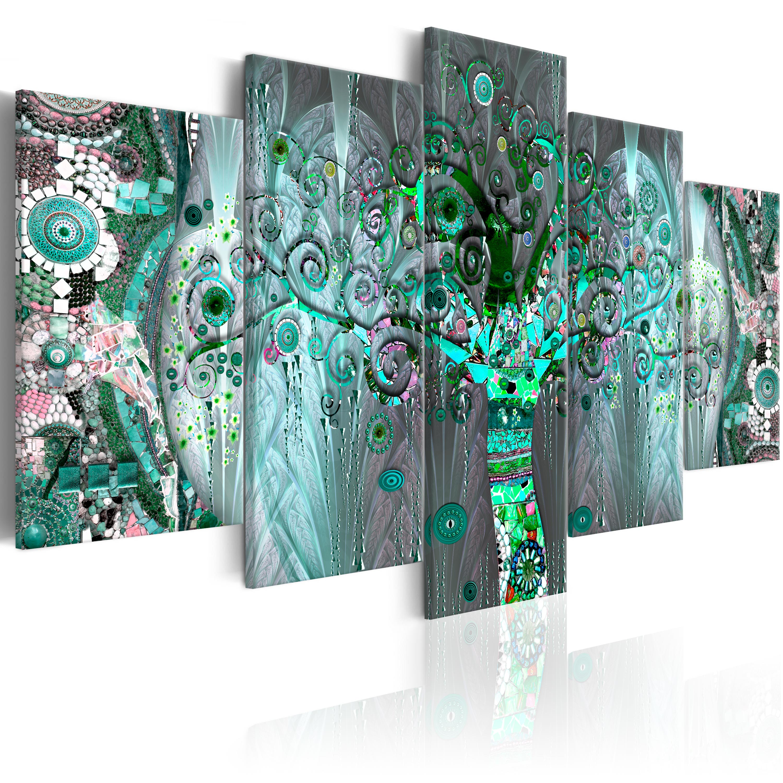 wandbilder xxl klimt baum leinwand bild mosaik kunstdruck. Black Bedroom Furniture Sets. Home Design Ideas