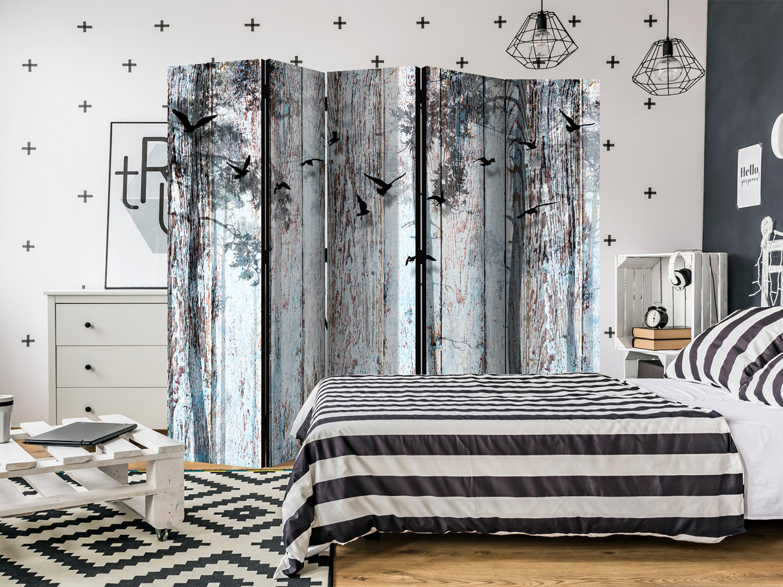Deko Paravent Raumteiler Trennwand Spanische Wand Holz Optik Vogel 2