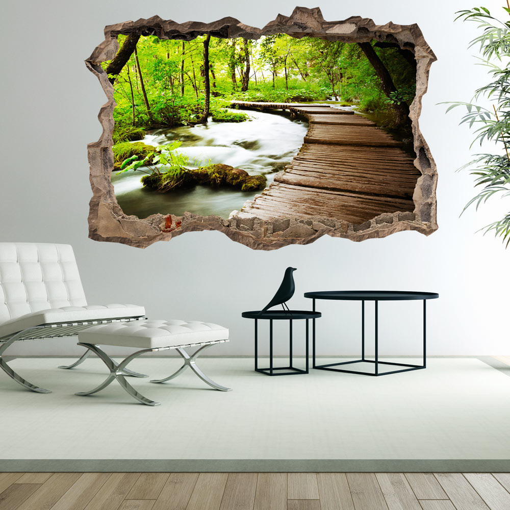 3d wall illusion wallpaper mural photo print a hole in the wall optical design ebay. Black Bedroom Furniture Sets. Home Design Ideas