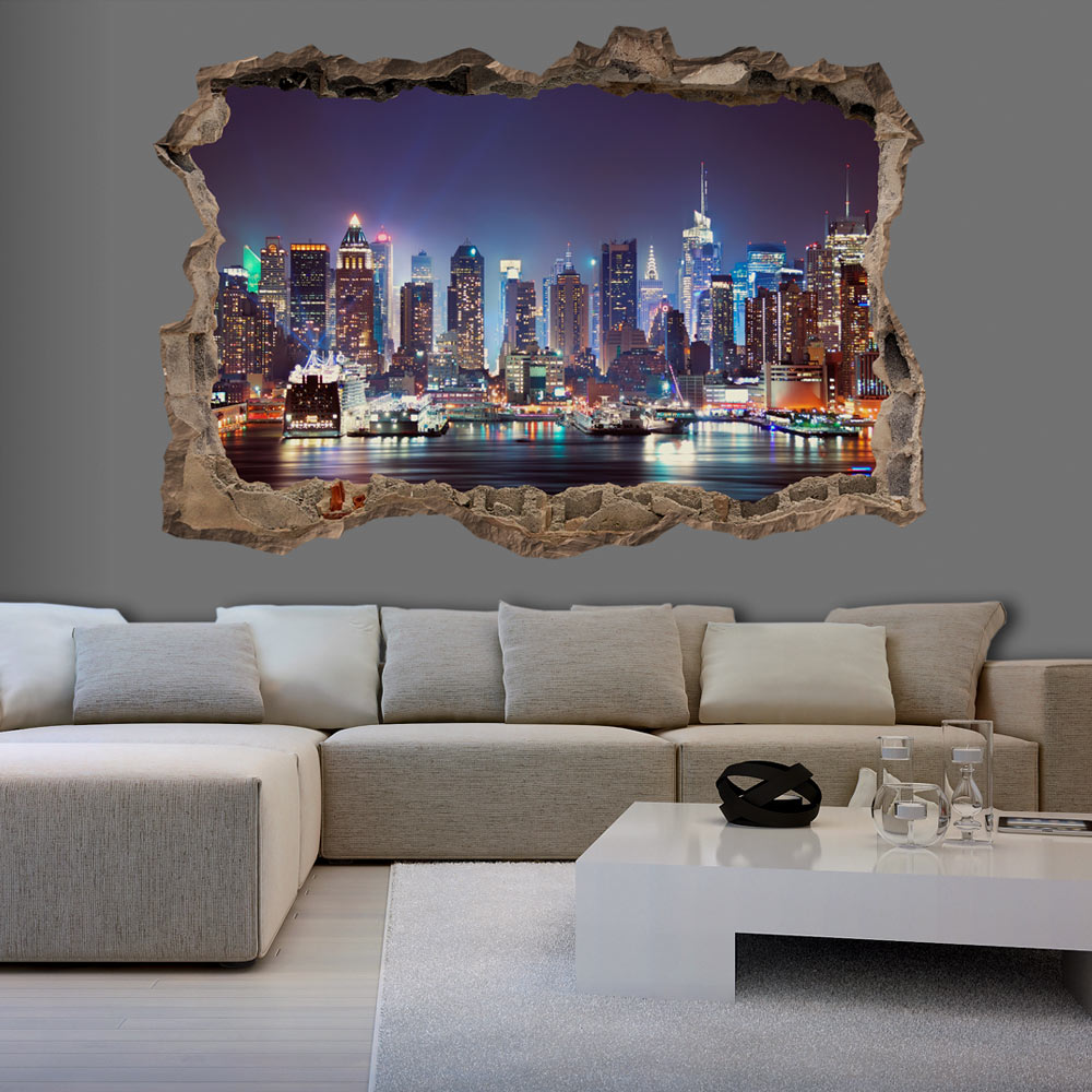 3d wall illusion wallpaper mural photo print a hole in the for Mural 3d wallpaper